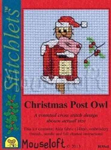 "Mouseloft Stitchlet Christmas Card Cross Stitch Kit ""Christmas Post Owl"" H35stl"