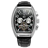 Qiyan Men's Steampunk Automatic Tourbillon Calendar Wrist Watch Black