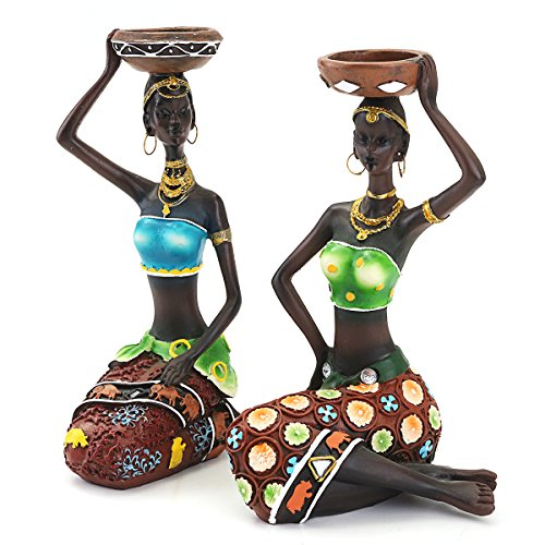- 2Pcs Resin Figurine Craft Candlestick African Women Beauty Lady Statue Decorative Hardware