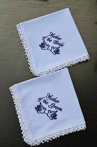 Wedding handkerchief set for mother of the bride and mother of the groom Wedding gift for Mother from son, Wedding handkerchief Wedding keepsake Personalized hankies Embroidered hankie ()
