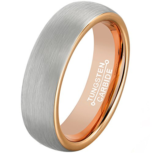 MNH Tungsten Rings for Men Rose Gold Plated 6mm Brushed Matte Finish Wedding Engagement Band