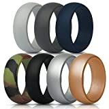 Silicone Rings Wedding Bands - 7 Pack, Mens (7 (17.3mm), Gray, Dark Gray, Dark Blue, Camo, Black, Silver, Gold) offers
