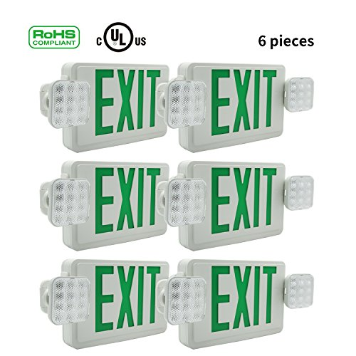 Ainfox 6 Pack LED Exit Sign Emergency Wall Light, Back -up Letter Cover (green/6pack) by Ainfox (Image #1)