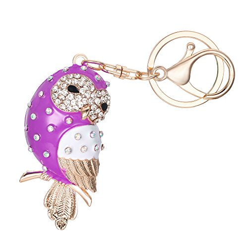 Adorable Vintage Enamel - EVER FAITH Women's Austrian Crystal Purple Enamel Adorable Owl Bird Keychain Bag Accessory Gold-Tone