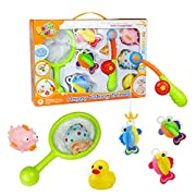 Bath Toys Fishing Game with Fishing Net Poles Rods Fishes Bathtime Tub Water Toy 8 PCS,Great Gift-wrap for Baby Kids Toddlers Girls Boys 18 Months and Up,Random Color