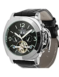 ESS Tourbillon Style Black Leather Aviator Date Automatic Mechanical Mens Watch WM343