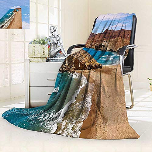 vanfan Blanket Comfort Warmth Soft View Tranquil Beach Cabo De Gata Spain Coastal Photo Scenic Summer Scenery Blue,Silky Soft,Anti-Static,2 Ply Thick Blanket. (50''x30'') by vanfan