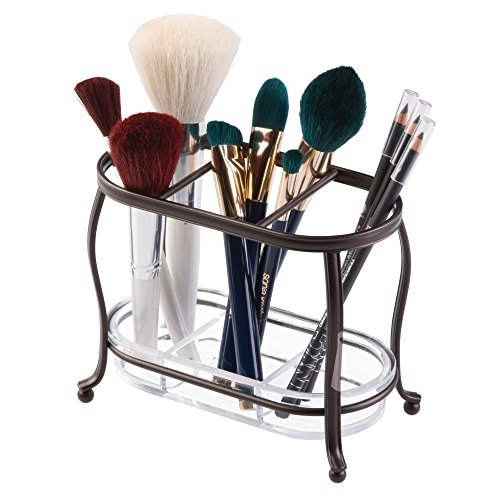 mDesign Decorative Makeup Brush Storage Organizer Tray Stand for Bathroom Vanity Counter Tops, Dressing Tables, Cosmetic Stations - 3 Sections with Removable Bottom Tray - Bronze/Clear