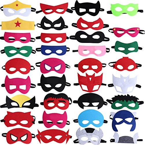 Standie 35PCS Kids Masks for Superhero Birthday Party Favors Cosplay for Children Aged 3+]()