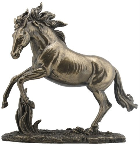 Horse Cast (11.63 Inch Rearing Horse Cold Cast Decorative Figurine, Bronze Color)
