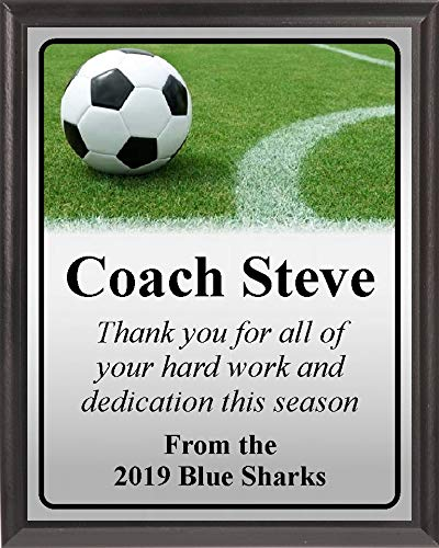 Plaque Field Award - Personalized Soccer Ball on Field Line Award Coach Sponsor Plaque (7 x 9)