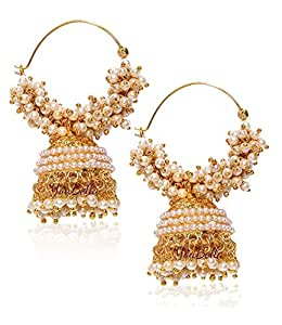 YouBella Ethnic Jewelry Bollywood Traditional Indian Pearl Jhumki Earrings for Women and Girls