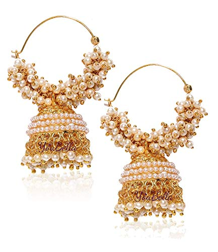 Traditional Indian Gold Jewelry - YouBella Ethnic Jewelry Bollywood Traditional Indian Pearl Jhumki Earrings for Women and Girls
