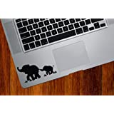 Elephant Mom and Baby - DESIGN 1 - Trackpad / Keyboard - Vinyl Decal (Black)