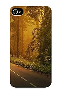 Guidepostee Design High Quality Road Marking Forest Car Trees Grass Fog Cover Case With Ellent Style For Iphone 4/4s(nice Gift For Christmas)