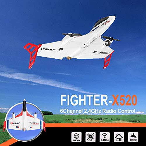 Loeiwg X520 3D / 6G Mode RC Glider, Vertical Takeoff Land Delta Wing Airplane with 2 pcs Powerful Brushless Motor - Fun Gift (16.54×20.5×4.92IN, White)
