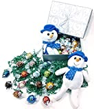 Silver Shimmer Christmas Holiday Gift Basket Box - Lindt Lindor Gourmet Chocolate Truffles Candy, Floral Accent & Stuffed Animal Snowman