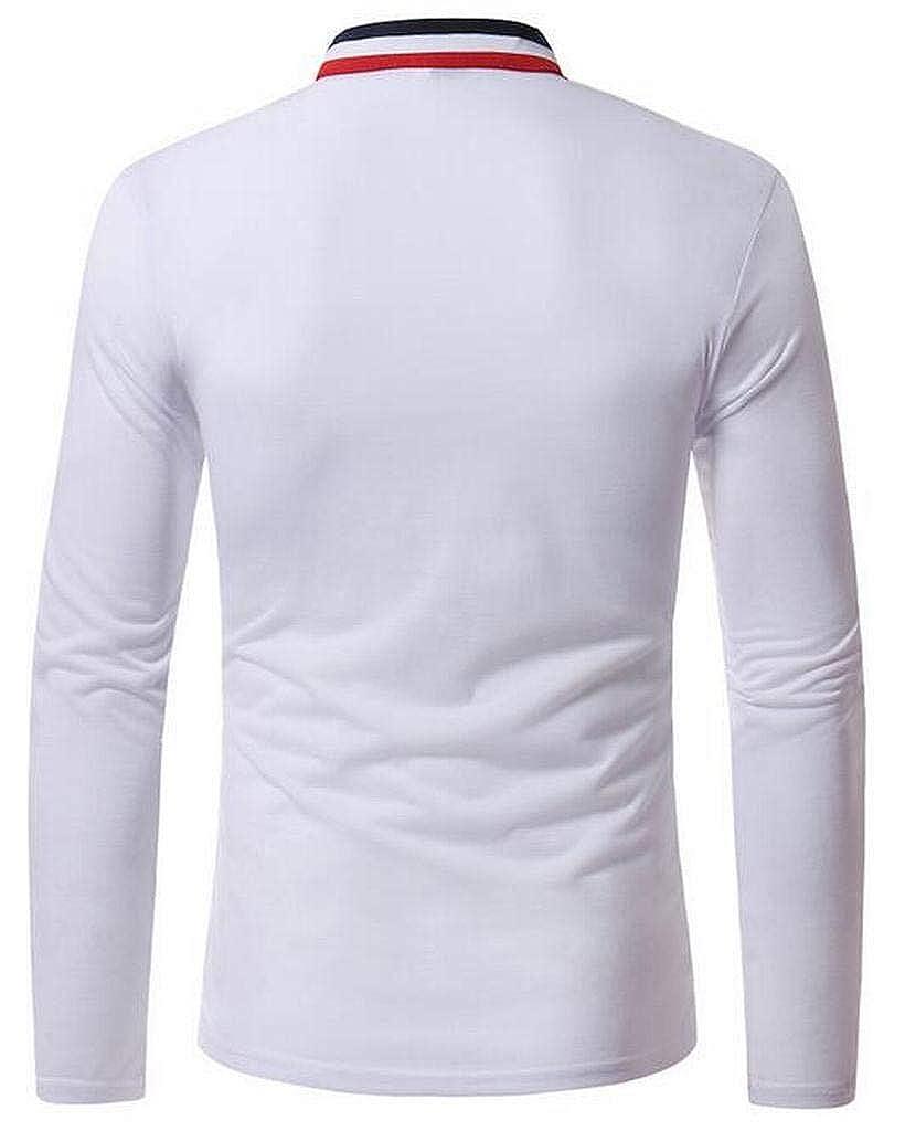 JYZJ Mens Business Regular Fit Stand Collar Long Sleeve Plain Henley Shirts