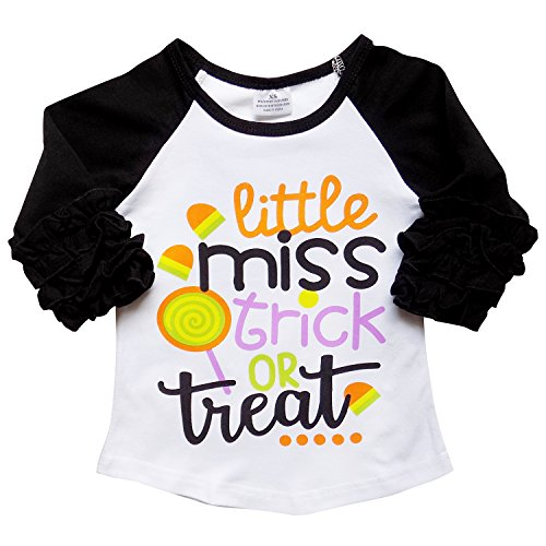 New So Sydney Toddler & Girl Fall & Winter Holiday Sparkle Ruffle Raglan T-Shirt (L (5), Trick or Treat II)