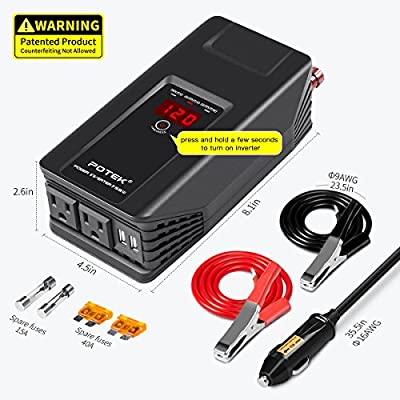 POTEK 750W Power Inverter 12V DC to 110V AC Car Adapter with Two USB and AC Charging Ports for Laptop,Tablet, Smartphone,Camera and More: Automotive