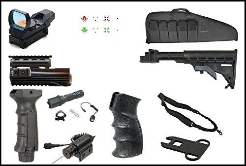 Ultimate Arms Gear AK Dual Red Green Illuminated Special Battle Edition Reticle Open Reflex Sight + Mount + Flashlight + Red Dot Laser + Deluxe Case + Dual Loop (Deluxe Tactical Laser Sight)