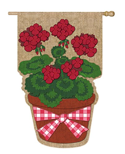 - Summer Geranium Flower Pot Burlap House Flag
