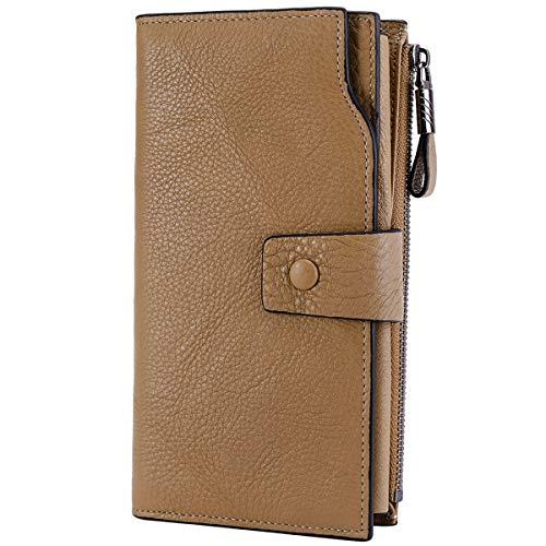 Itslife Women's RFID Blocking Large Capacity Luxury Wax Genuine Leather Clutch Wallet Card Holder Organizer Ladies Purse (2-Natural Apricot RFID BLOCKING)