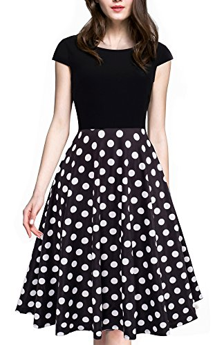 HOMEYEE Women's 1950s Vintage Elegant Cap Sleeve Swing Party Dress A009 (L, Dot) ()