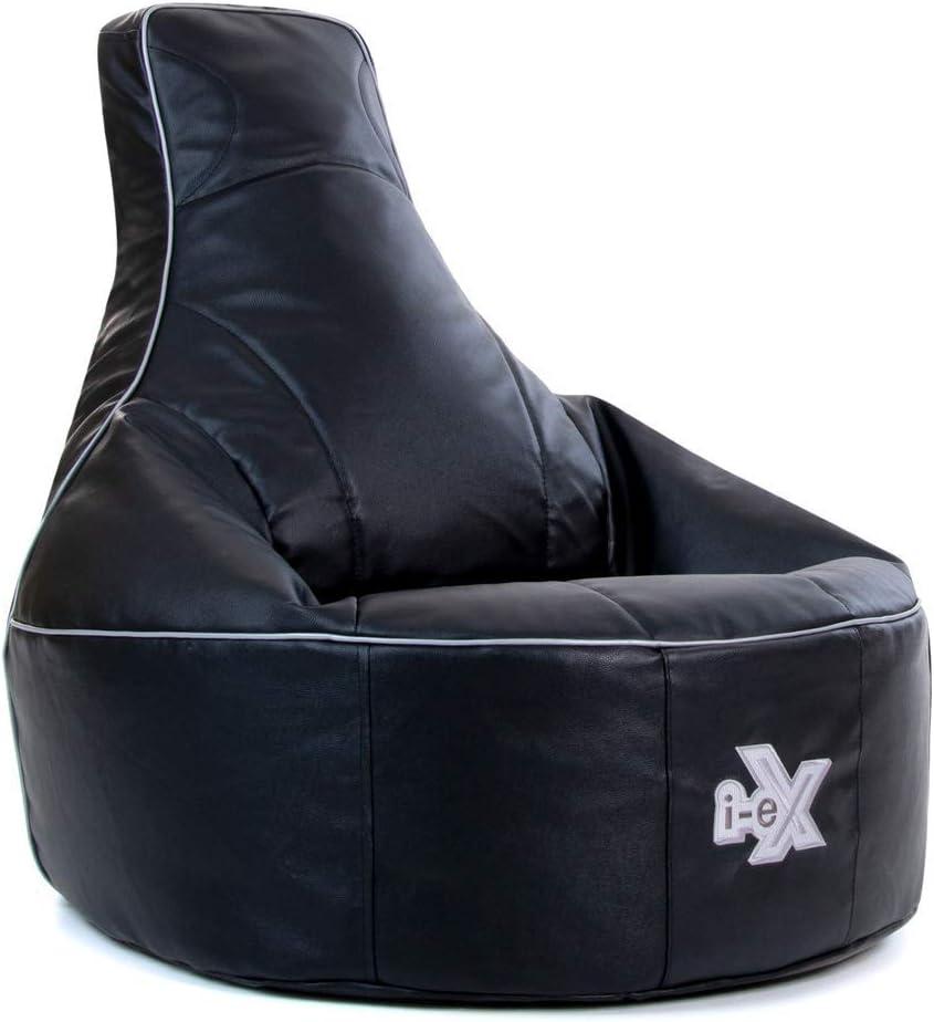 i-eX Puf para Videojuegos, Negro, 85cm x 73cm, Grande, Cuero sintético, Reclinable ergonómico para Videojuegos para niños y...