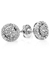 0.40 Carat (ctw) 14K Gold Round Cut Diamond Round Shape Cluster Earrings Look of 1 CT each
