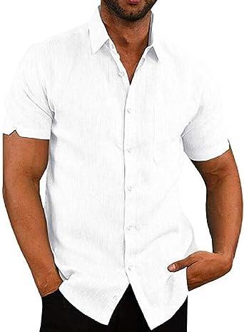 GRMO - Camisa de vestir de manga corta con botones de lino para hombre - Blanco - Medium: Amazon.es: Ropa y accesorios