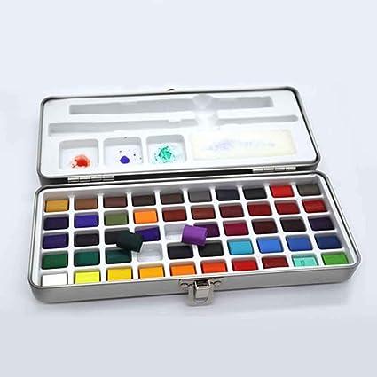 Pintura sólida no tóxica de 50 colores, suministros de arte de acuarela para niños portátiles: Amazon.es: Oficina y papelería