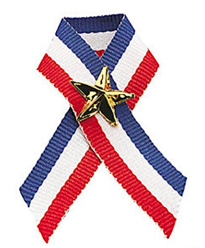 Patriotic Ribbon with Star Pins (2 Dozen) Memorial Day/4th of July ()