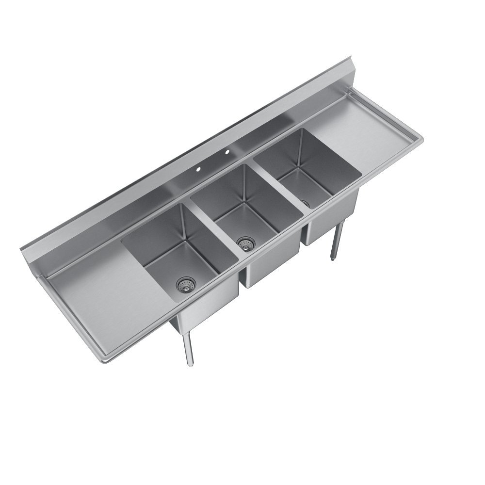 Elkay Foodservice 3 Compartment Sink, 66''X19.75'' OA, 36'' Working Height, 10X14 Bowl, 10 Deep, 10.75'' Backsplash, Left & Right 16 Drainboards, 8'' On Center Faucet Hole, Galvinized Legs, Adjustable Feet, 16 Gauge 300 Series Stainless Steel, NSF Certified by Elkay (Image #4)