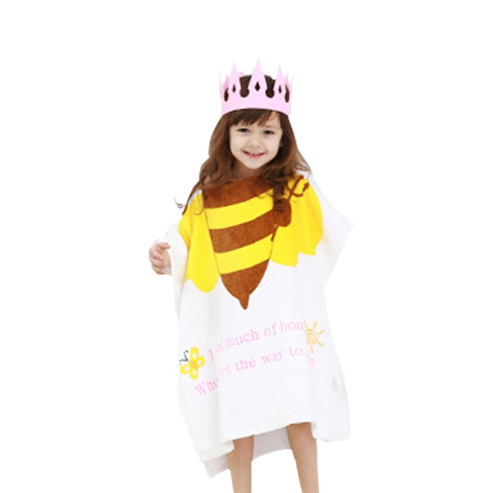 Luckym Children Animal Bathrobes Cartoon Animals Hooded Cape Towel Beach Towel (bee)