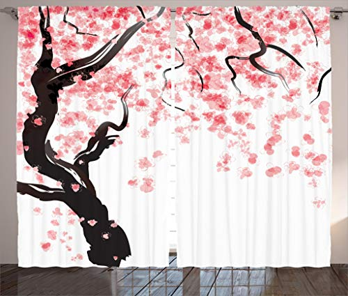 Ambesonne Floral Curtains, Japanese Cherry Tree Blossom in Watercolor Painting Effect, Living Room Bedroom Window Drapes 2 Panel Set, 108 W X 84 L Inches, Pale Pink Seal Brown Charcoal Grey