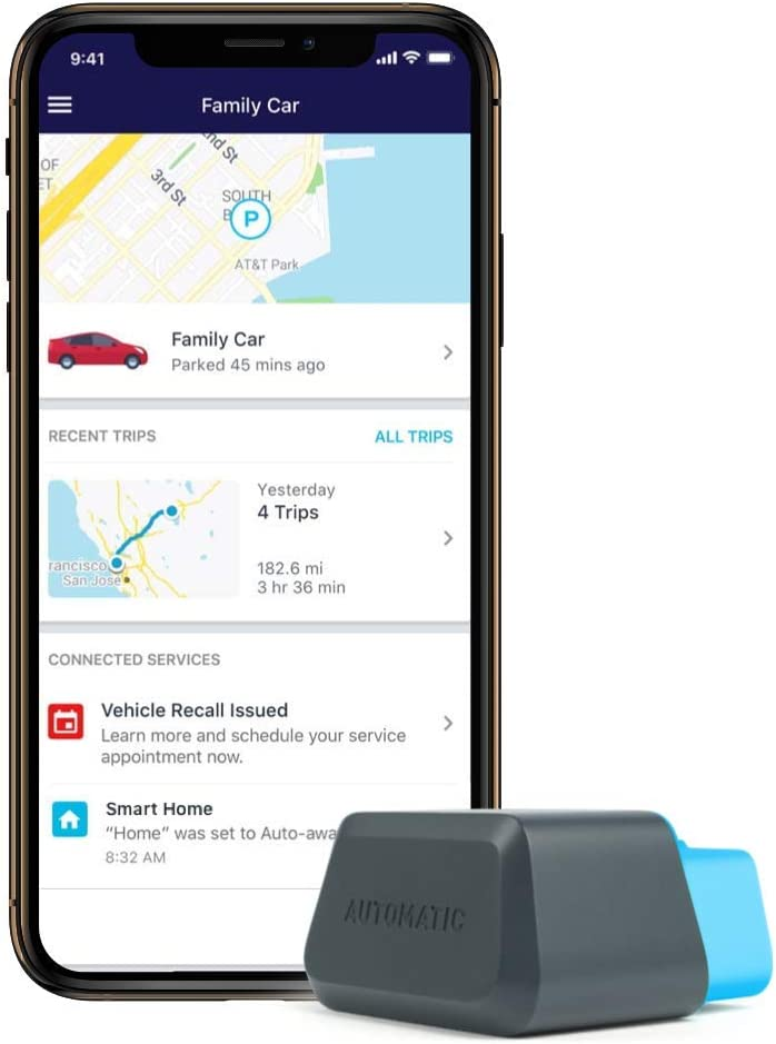 Automatic Connected Car Assistant New AUT-450C, LTE OBD II Adapter and App, Trip Tracking, Severe Crash Alert, Engine Diagnostics, Realtime Car ...