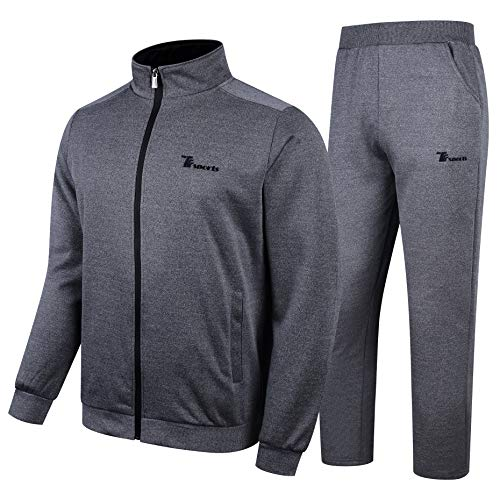 YSENTO Men's Warm Athletic Track Suits Full Zip Jogger Sweatsuits Set Dark Grey Size XL