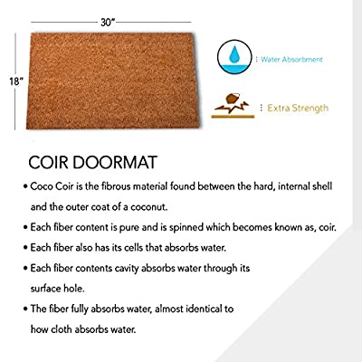 """MPLUS Pure Coco Coir Doormat with Heavy-Duty PVC Backing - Perfect color/sizing for outdoor/indoor uses. Pile Height: 15mm - Size: 18""""-Inches x 30""""-Inches"""