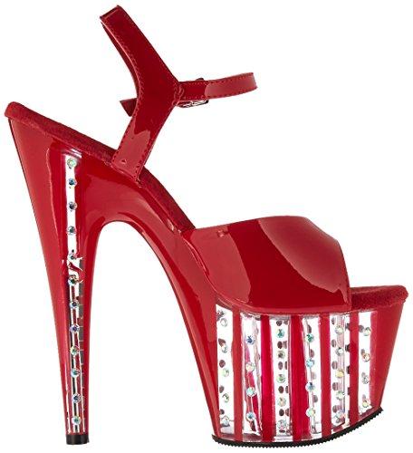 Red pour Medium Pleaser Patent Sandales Red Femme Noir Pat FB5Tx8qw