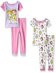 Disney Little Girls' Toddler Princess 4-Piece Cotton Pajama Set, Purple, 2T