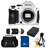 Pentax K-30 Digital Camera (Body Only) (Crystal White) Kit. Includes: 8GB Memory Card, High Speed Memory Card Reader, Extended Life Replacement Battery, Table Top Tripod, LCD Screen Protectors, Cleaning Kit and Carrying Case