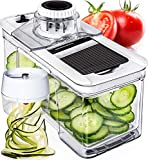 Adjustable Mandoline Slicer with Spiralizer Vegetable Slicer - Black Veggie Slicer Mandoline Food Slicer with Julienne Grater - V Slicer Mandoline Cutter Vegetable Cutter Zoodle Maker by Prep Naturals