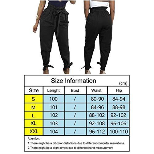 Bowknot Cómodo Pantalones Lápiz Casual Alta Cintura De Las Zanahoria Battercake Mujeres Color Sólido Negro Vendaje FqSTzYw