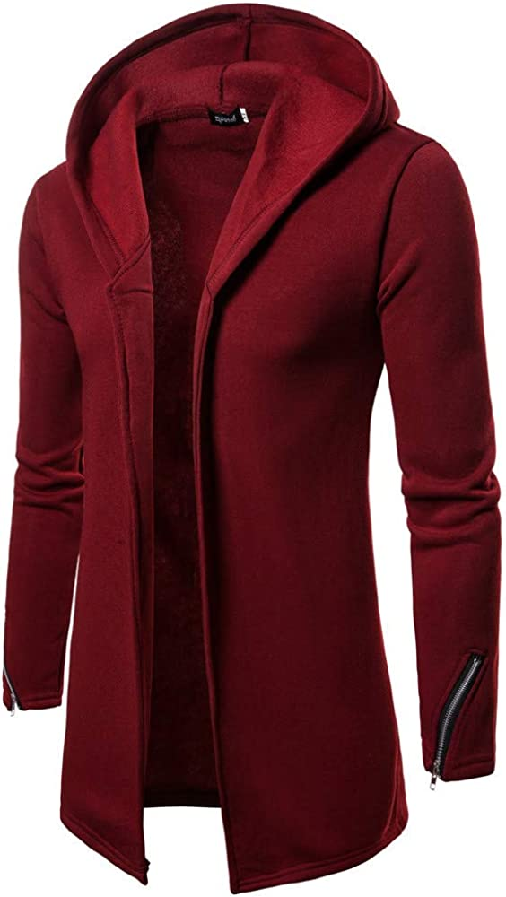 Veepola Mens Hooded Solid Zip Trench Coat Jacket Cardigan Long Sleeve Outwear