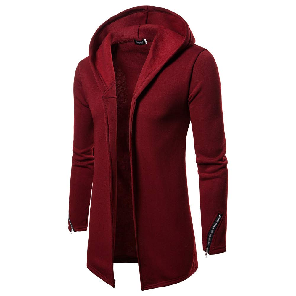 Forthery Mens Trench Coat with Hood Winter Long Zipper Jacket Overcoat Cardigan