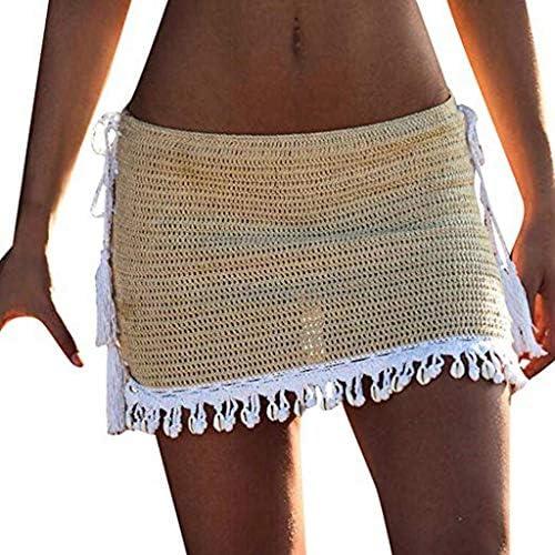 JUN Crochet Falda de bikini para mujer, falda de playa sexy falda ...