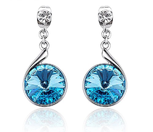 Earrings Blue Drop Dangle Ear-Stud for Pierced Ears Made with Swarovski Crystals Aquamarine Jewelry for Women ()