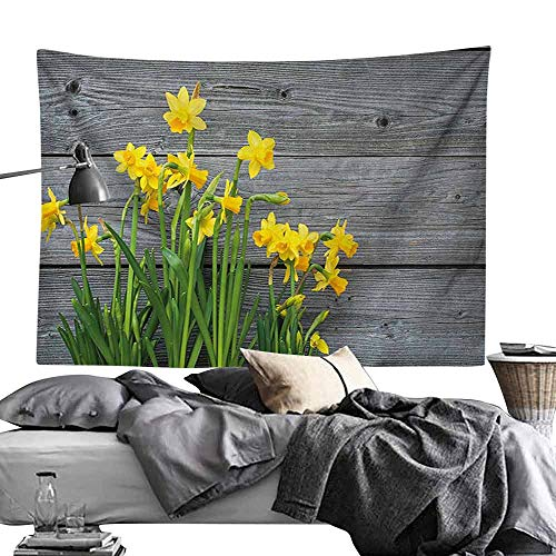 Homrkey Bed Linen Tapestry Yellow Flower Bouquet of Daffodils on Wood Planks Gardening Rustic Country Life Theme Hippie Tapestry W90 x L59 Yellow Grey
