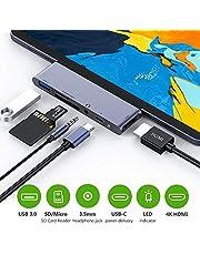 """RayCue USB C Hub für Pad Pro 2018, 6 in 1 USB C auf 4K HDMI Adapter mit USB3.0, SD/TF Kartenleser, 3,5 mm Kopfhöreranschluss, PD-Aufladung, HDMI Konverter für Pad Pro 11""""/ 12,9"""" 2018 & MacBook Pro"""